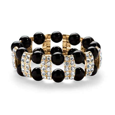 Round Black Beaded Stretch Bracelet with Crystal Accents in Yellow Gold Tone 8
