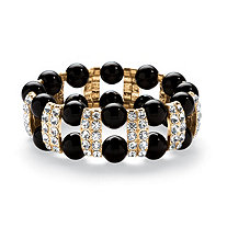 SETA JEWELRY Round Crystal and Simulated Black Onyx Beaded Stretch Bracelet in Goldtone 8