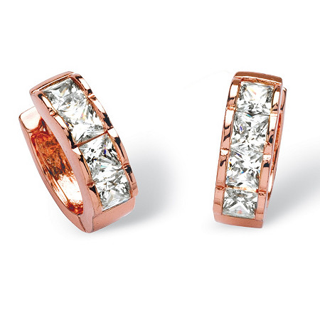 4 TCW Princess-Cut Cubic Zirconia Huggie-Hoop Earrings in Rose Gold-Plated at PalmBeach Jewelry