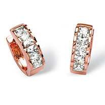 4 TCW Princess-Cut Cubic Zirconia Huggie-Hoop Earrings in Rose Gold-Plated