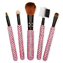 Pink Crystal Encrusted 5-Piece Makeup Brush Set