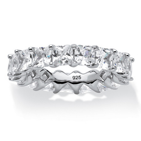 6.29 TCW Princess-Cut Cubic Zirconia Eternity Band in Platinum over .925 Sterling Silver at PalmBeach Jewelry