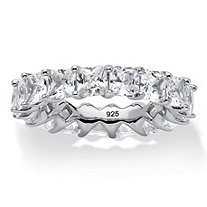 SETA JEWELRY 6.29 TCW Princess-Cut Cubic Zirconia Eternity Band in Platinum over .925 Sterling Silver