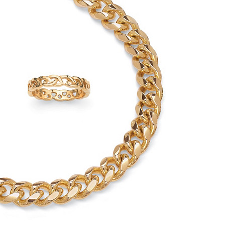 Curb-Link Chain in Yellow Gold Tone and FREE Circle Ring in Gold Ion-Plated at PalmBeach Jewelry
