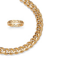 Curb-Link Chain in Yellow Gold Tone and FREE Circle Ring in Gold Ion-Plated