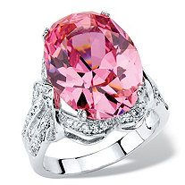 13.24 TCW Oval-Cut Simulated Pink Tourmaline Cubic Zirconia Cocktail Ring with White CZ Accents Platinum-Plated