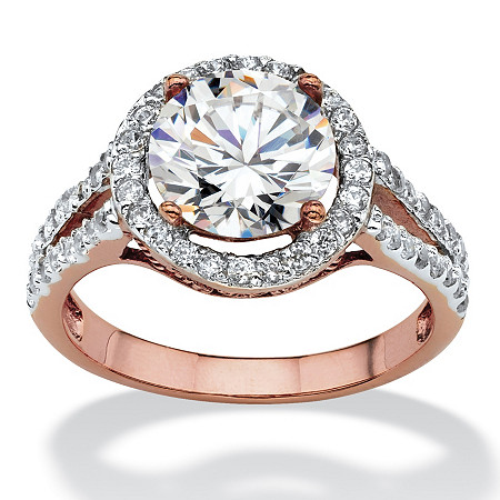 3 TCW Round Cubic Zirconia Halo Double Shank Ring in Rose Gold-Plated at PalmBeach Jewelry
