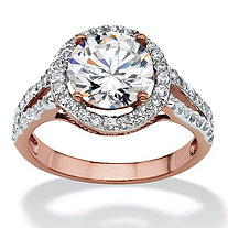 3 TCW Round Cubic Zirconia Halo Double Shank Ring in Rose Gold-Plated