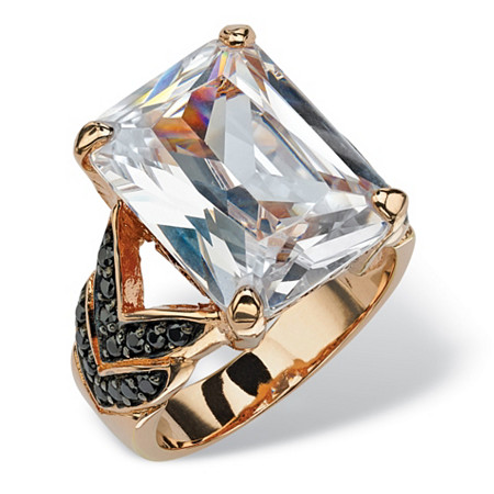 19.64 TCW Emerald-Cut Cubic Zirconia and Black Cubic Zirconia Chevron Ring in Rose Gold-Plated at PalmBeach Jewelry