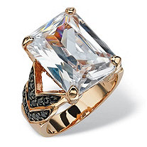 19.64 TCW Emerald-Cut Cubic Zirconia and Black Cubic Zirconia Chevron Ring in Rose Gold-Plated