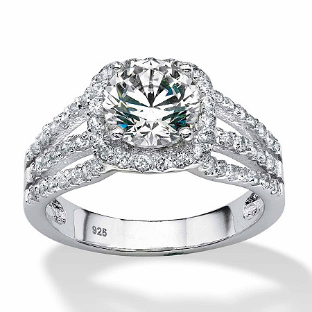 2.27 TCW Round Cubic Zirconia Halo Triple Shank Ring in Platinum over Sterling Silver at PalmBeach Jewelry