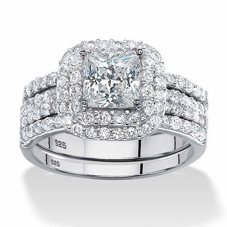 2.14 TCW Princess-Cut Cubic Zirconia Three-Piece Bridal Set in Platinum over Sterling Silver at PalmBeach Jewelry