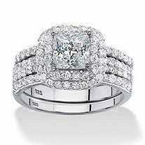 2.14 TCW Princess-Cut Cubic Zirconia Three-Piece Bridal Set in Platinum over Sterling Silver