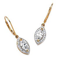 SETA JEWELRY 2.12 TCW Marquise-Cut Cubic Zirconia Drop Earrings in 18k Gold over .925 Sterling Silver