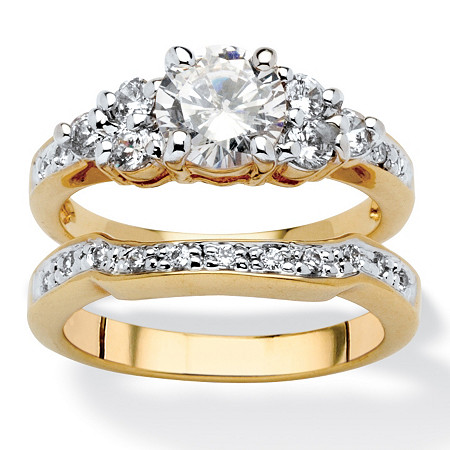 2 Piece 2.01 TCW Round Cubic Zirconia Bridal Ring Set in 18k Gold-Plated at PalmBeach Jewelry
