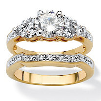 2 Piece 2.01 TCW Round Cubic Zirconia Bridal Ring Set in 18k Gold-Plated