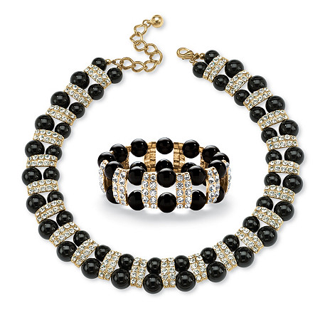 Black Beaded 2 Piece Necklace and Bracelet Set in Yellow Gold Tone at PalmBeach Jewelry