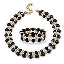 Black Beaded 2 Piece Necklace and Bracelet Set in Yellow Gold Tone
