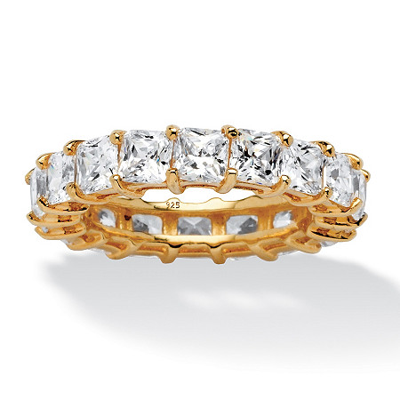 5.40 TCW Princess-Cut Cubic Zirconia Eternity Band in 18k Gold over Sterling Silver at PalmBeach Jewelry