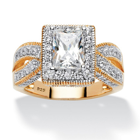 2.02 TCW Emerald-Cut Cubic Zirconia Milgrain Double Shank Ring in 18k Gold over Sterling Silver at PalmBeach Jewelry
