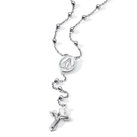 Rosary-Style Beaded Necklace in Sterling Silver at PalmBeach Jewelry