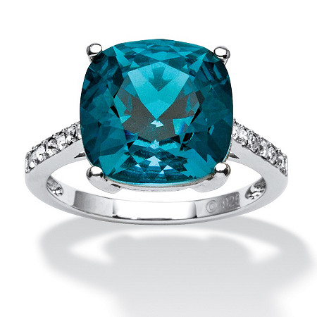 Cushion-Cut London Blue Crystal Ring MADE WITH SWAROVSKI ELEMENTS in Platinum over Sterling Silver at PalmBeach Jewelry