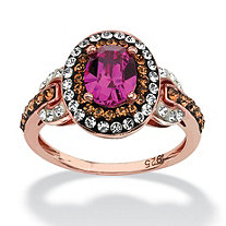 SETA JEWELRY Oval-Cut Fuschia Crystal Halo Ring MADE WITH SWAROVSKI ELEMENTS in Rose Gold over Sterling Silver