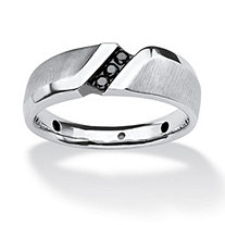 Men's 1/10 TCW Round Channel Set Black Diamond Ring in Platinum over Sterling Silver