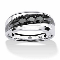 SETA JEWELRY Men's 3/4 TCW Channel-Set Black Diamond Ring in Platinum over Sterling Silver