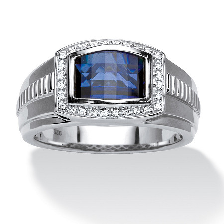 s blue and white sapphire ring in platinum