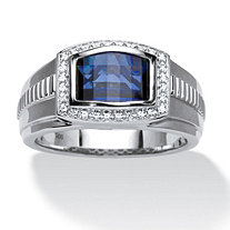 Men's Blue and White Sapphire Ring in Platinum over Sterling Silver