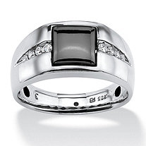 SETA JEWELRY Men's .30 TCW Genuine Hematite and White Sapphire Ring in Platinum Over .925 Sterling Silver