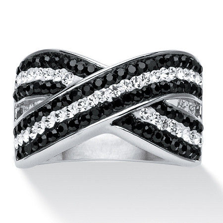 Round Pave Black and White Crystal Crossover Ring MADE WITH SWAROVSKI ELEMENTS Platinum-Plated at PalmBeach Jewelry
