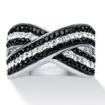 Round Pave Black and White Crystal Crossover Ring MADE WITH SWAROVSKI ELEMENTS Platinum-Plated