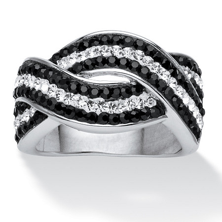 Pave Jet Black and White Crystal Twisting Crossover Ring Made with SWAROVSKI ELEMENTS at PalmBeach Jewelry