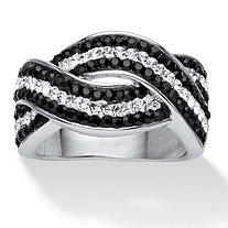 SETA JEWELRY Pave Jet Black and White Crystal Twisting Crossover Ring Made with SWAROVSKI ELEMENTS