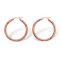 "Textured Hoop Earrings in Rose Ion-Plated Stainless Steel (1 1/3"")"
