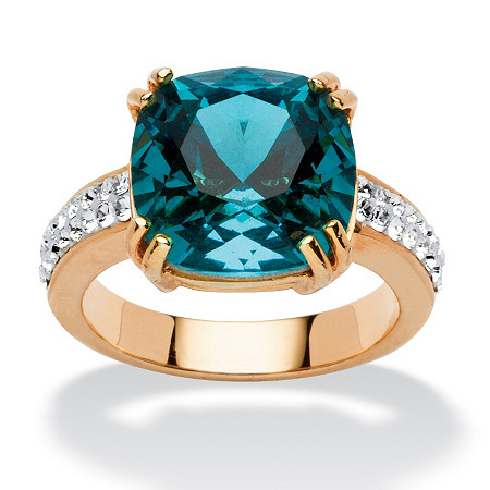 Cushion-Cut Denim Blue Crystal Yellow Gold Tone Ring MADE WITH SWAROVSKI ELEMENTS at PalmBeach Jewelry
