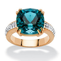 Cushion-Cut Denim Blue Crystal Yellow Gold Tone Ring Made with Swarovski Elements