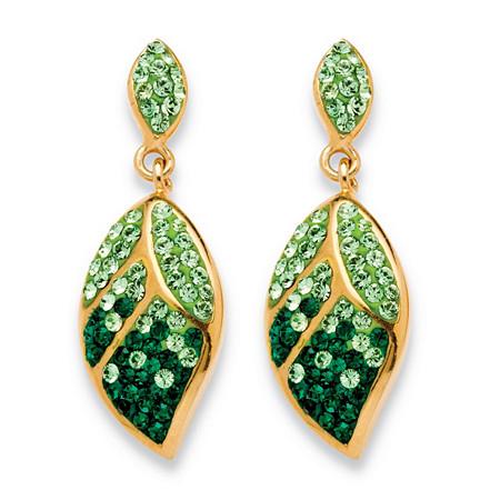 Pave Crystal Green Leaf Drop Earrings MADE WITH SWAROVSKI ELEMENTS in Yellow Gold Tone at PalmBeach Jewelry