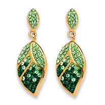 Pave Crystal Green Leaf Drop Earrings MADE WITH SWAROVSKI ELEMENTS in Yellow Gold Tone