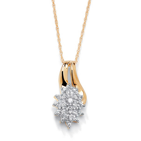 Diamond Accented Cluster Pendant Necklace in 18k Gold over Sterling Silver 18