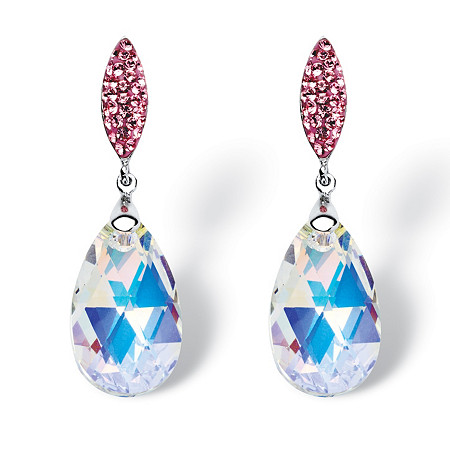 Pear-Cut Aurora Borealis Crystal Drop Earrings MADE WITH SWAROVSKI ELEMENTS in Silvertone at PalmBeach Jewelry
