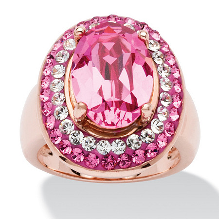 Oval-Cut Rose Crystal Cockail Ring MADE WITH SWAROVSKI ELEMENTS in Rose Gold-Plated at PalmBeach Jewelry