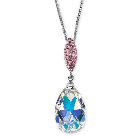 Pear-Cut Aurora Borealis Crystal Pendant Necklace MADE WITH SWAROVSKI ELEMENTS in Silvertone 18