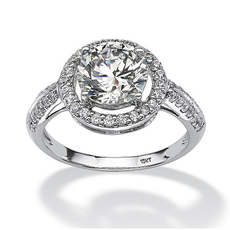 Round Cubic Zirconia Halo Ring 2.46 TCW in Solid 10k White Gold at PalmBeach Jewelry