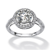 Round Cubic Zirconia Halo Ring 2.46 TCW in Solid 10k White Gold