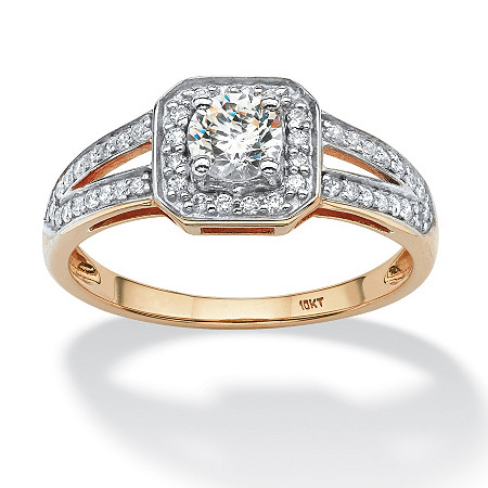 .63 TCW Round Cubic Zirconia Split Shank Hexagon Ring in 10k Gold at PalmBeach Jewelry