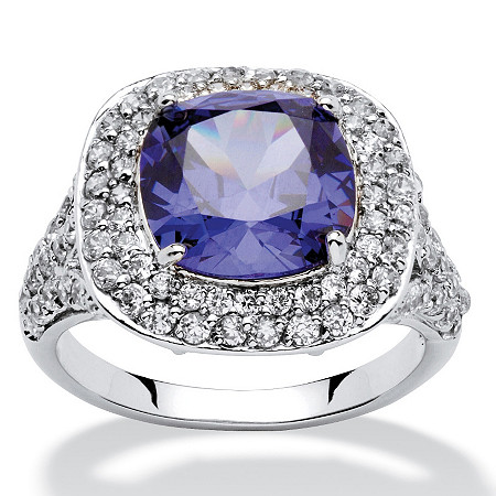 4.10 TCW Cushion-Cut Tanzanite Cubic Zirconia Halo Ring in Silvertone at PalmBeach Jewelry