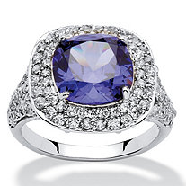 4.10 TCW Cushion-Cut Tanzanite Cubic Zirconia Halo Ring in Silvertone